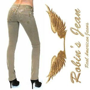 ROBIN'S JEAN Marilyn Gold Wings Straight Khaki Tan